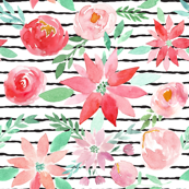 Christmas Garden Watercolor Florals on Charcoal Stripes