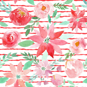 Christmas Garden Watercolor Florals on Red Stripes