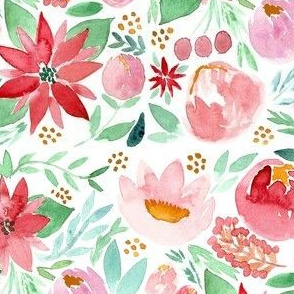 Christmas Watercolor Florals - SMALL