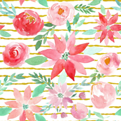 Christmas Garden Watercolor Florals on gold stripes