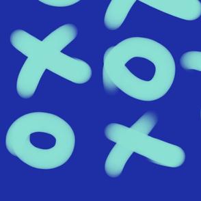 X O Light Blue on Blue