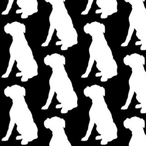Boxer Dog Silhouette White on Black