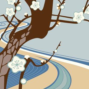 Cherry Tree Cheater Quilt Horizontal