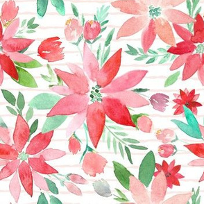 Perfect Poinsettas Christmas Watercolor on Blush Stripes