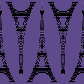 Jumbo Black Eiffel Tower on Ultra Violet Purple