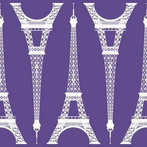Jumbo White Eiffel Tower on Ultra Violet Purple
