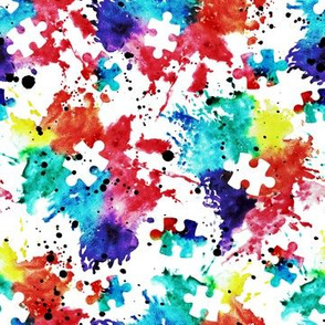 (small scale) autism awareness - watercolor puzzle pieces with splatter C19BS