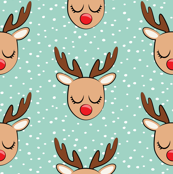 "(1.5"" scale) Reindeer - white polka on dark mint - Holiday fabric C19BS"