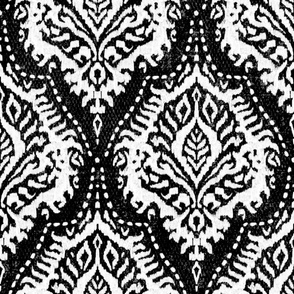 White Damask on Black - large scale