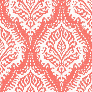 White Damask on Coral - large scale