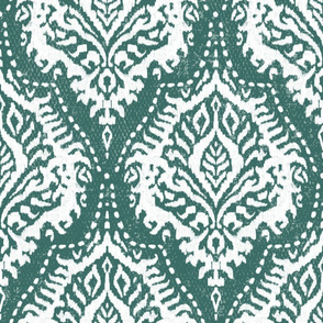 White Damask on Moss Green - large scale