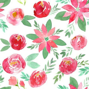 Christmas Red Watercolor Florals