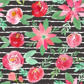 Christmas Red Watercolor Florals Black and White Stripes