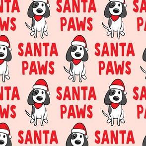 Santa Paws - Christmas dog - red on pink  - LAD19