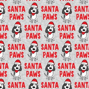 (small scale) Santa Paws - Christmas dog - red on grey - LAD19