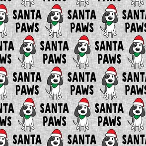 (small scale) Santa Paws - Christmas dog - black on grey - LAD19