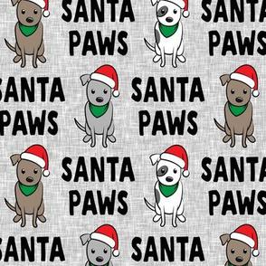 Santa Paws - cute holiday pit bulls - Christmas dog - black on grey - LAD19