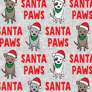 Santa Paws - cute holiday pit bulls - Christmas dog - red on grey - LAD19