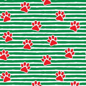 Christmas paw prints - red on green - LAD19