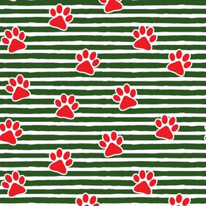 Christmas paw prints - red on dark green - LAD19