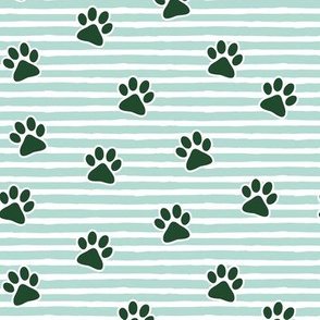 Christmas paw prints - green on mint - LAD19