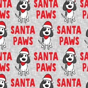 Santa Paws - Christmas dog - red on grey - LAD19