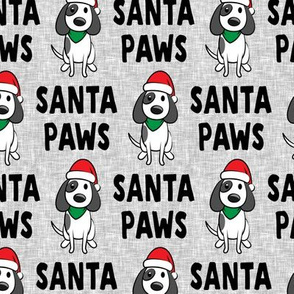 Santa Paws - Christmas dog - black on grey - LAD19