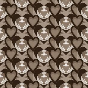 Color blocking pink hearts 7 sepia