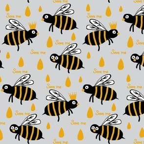 Save / The Reign of the Honey Bee   -Retro Grey & Yellow