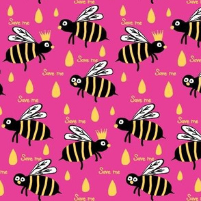Save / The Reign of the Honey Bee   -Retro Pink Black Yellow