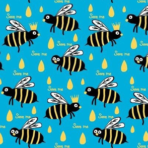 Save  / The Reign of the Honey Bee   -retro azure blue and yellow