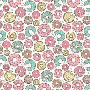 Donuts with Hearts Mint Green, Pink and Chocolate on White Smaller  Tiny