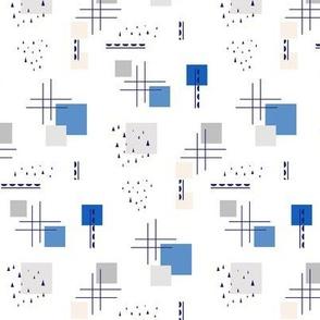 memphis style blue beige gray print geometric print