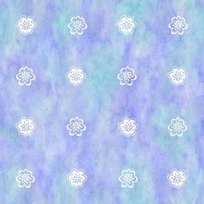 Flower Sketch White on Aqua Lavender