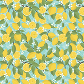 Lemon Blossoms Lemons with Leaves