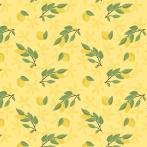 Lemons on Lemon Tree with Lemon Flowers