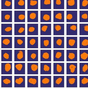 Boxed Dots Orange on Dark Blue