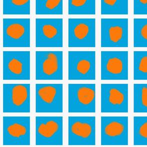 Boxed Dots Orange on Manganese Blue
