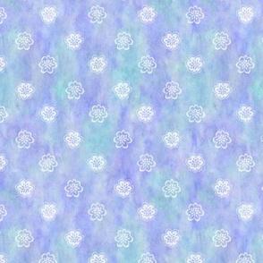 Flower Sketch 2 White on Aqua Lavender