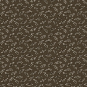 White Line Leaves on Brown Background