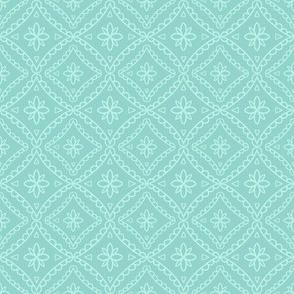 Teal Folk Tile Pattern