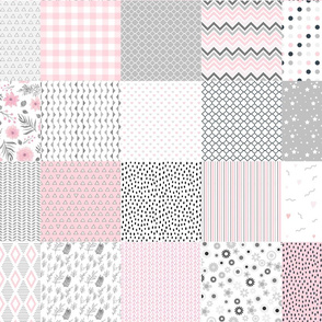 baby girl cheater quilt pink white gray charm pack