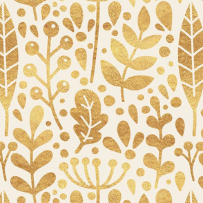 Neutral retreat - golden leaves - large scale