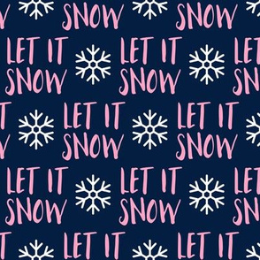 Let it Snow - pink on blue - Christmas Winter Holiday - LAD19