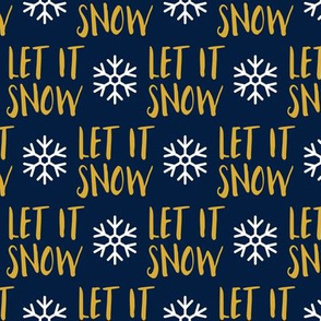 Let it Snow - gold on blue - Christmas Winter Holiday - LAD19