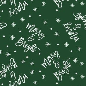 Merry & Bright - holiday winter christmas - green - LAD19