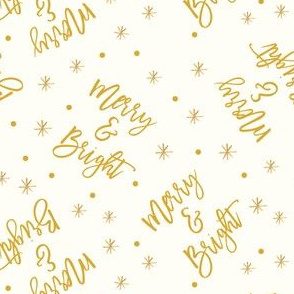 Merry & Bright - holiday winter christmas - gold on cream - LAD19