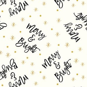 Merry & Bright - holiday winter christmas - gold and black on cream - LAD19