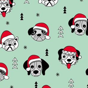 Little puppy friends Christmas dogs pug pitbull shepherd and poodle with santa hat mint green