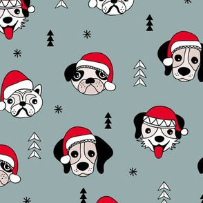 Little puppy friends Christmas dogs pug pitbull shepherd and poodle with santa hat winter stone gray blue